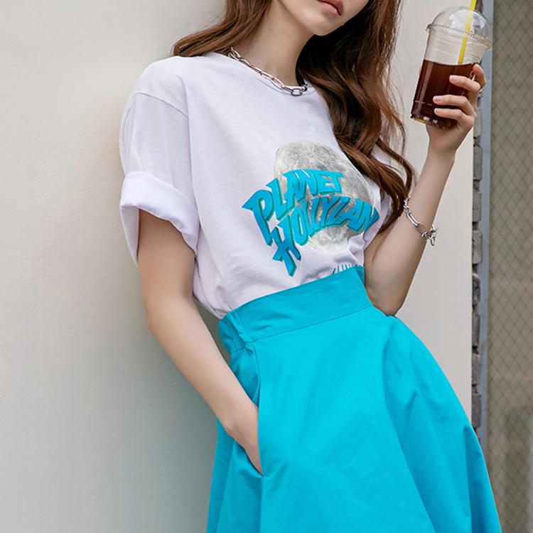 dint-[E2438 더문 플래닛 반팔 라운드넥 탑]Document♡韓國女裝上衣