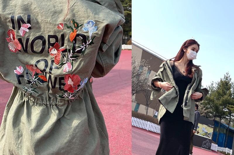 torishop-플로우자수 레터링야상JK♡韓國女裝外套