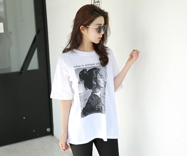 DailyN-(무배)왓츠걸 루즈핏 프린팅 반팔 티셔츠♡韓國女裝上衣