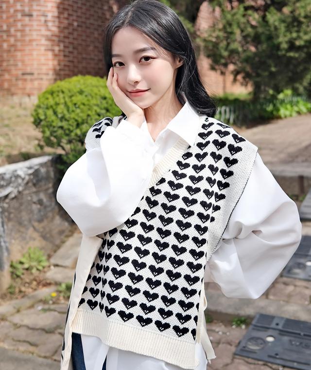 kikiko-하트리본니트조끼♡韓國女裝上衣
