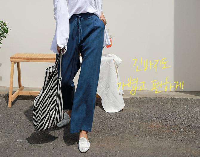 chichera-세련된 그녀들의 선택, 시크헤라[와이드리넨밴딩팬츠]♡韓國女裝褲