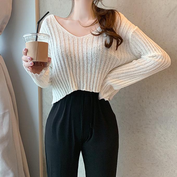 henique-비엔나 골지 브이넥 살짝 크롭 썸머 니트 티셔츠 (아이보리/블랙/카키/베이지/오렌지)♡韓國女裝上衣