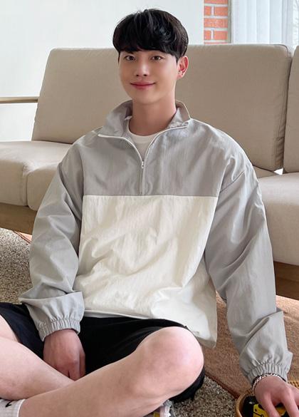 jogunshop-[더벨리 2단 배색 아노락 집업Free(95~105)]♡韓國男裝外套