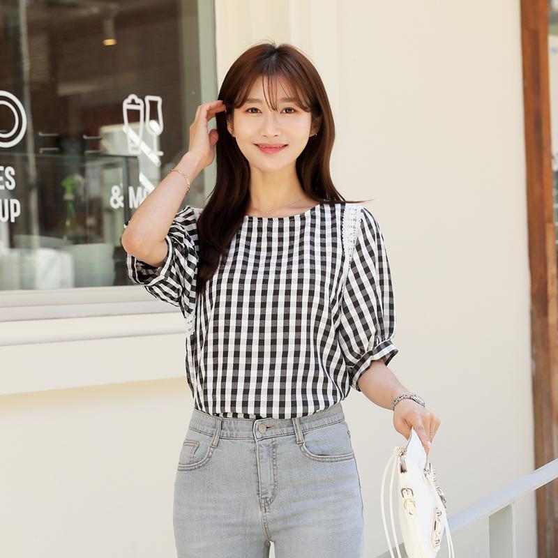 clicknfunny-커논 체크블라우스♡韓國女裝上衣