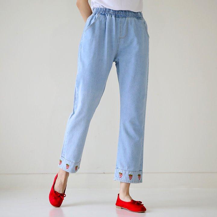 lemite-상큼해버려 딸기팬츠(초특가데님,세일제외,허리전체밴딩)♡韓國女裝褲