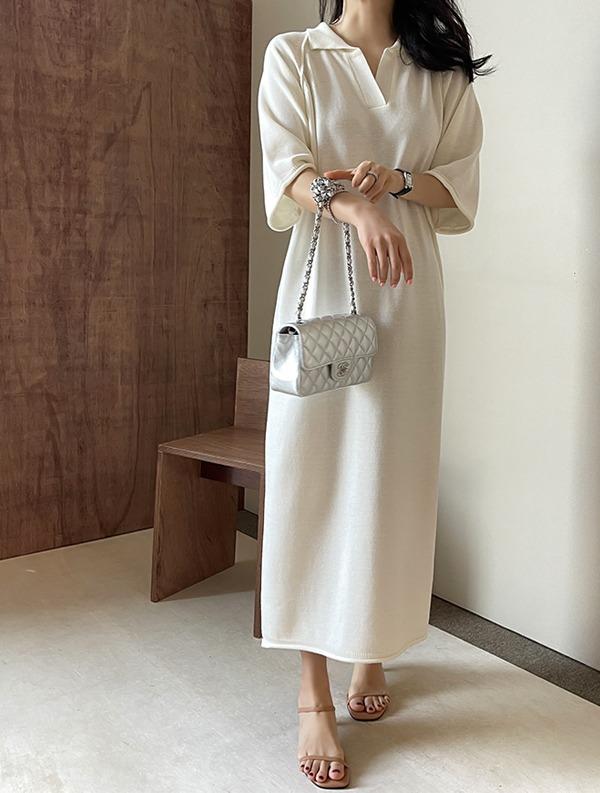 ssumj-제이스 오픈카라 원피스(2col)♡韓國女裝連身裙