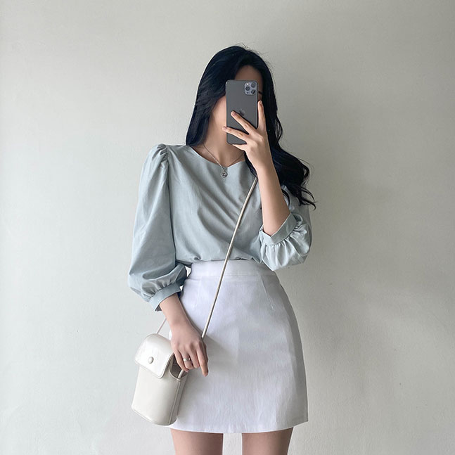 sonyunara-마블 7부 셔링 블라우스 ♡韓國女裝上衣