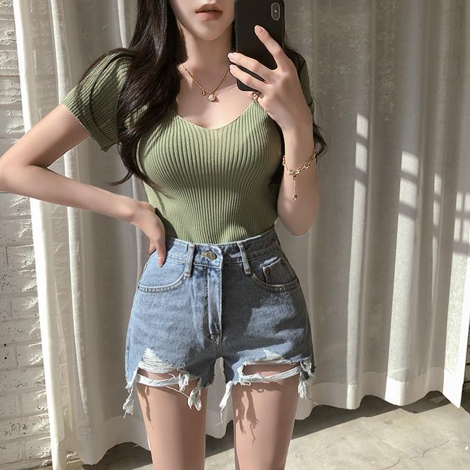 henique-오늘은 이거 브이넥 골지 니트 반팔 티셔츠 (베이지/민트/소라/딥블루/그린/화이트/레드/오렌지/엘로우/핑크/퍼플/블랙)♡韓國女裝上衣