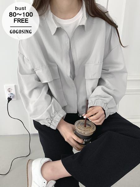 ggsing-[주말동안9%할인]포켓 크롭JK (숏,점퍼,집업,무료배송)♡韓國女裝外套