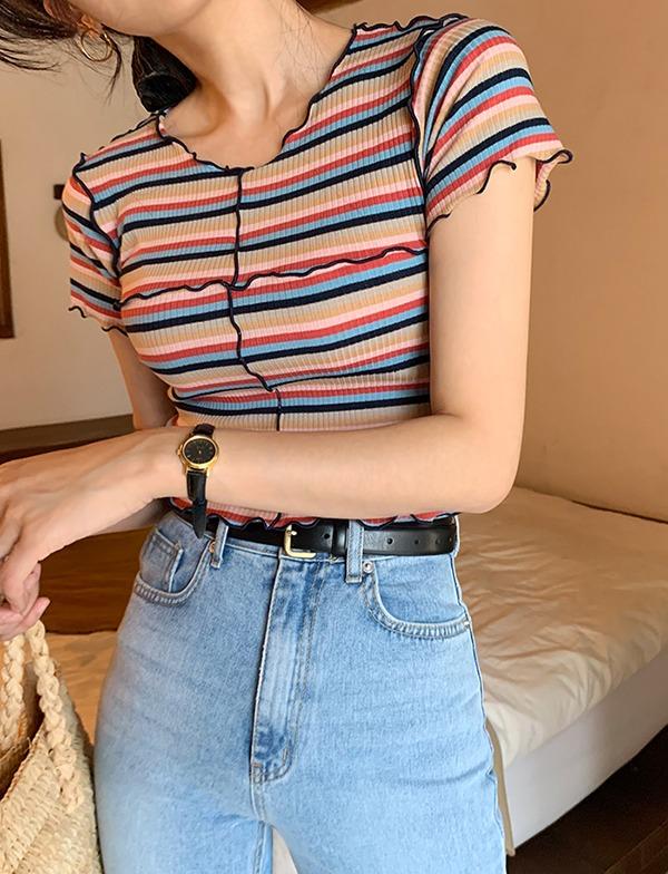 browncode-rainbow crop t-shirts♡韓國女裝上衣
