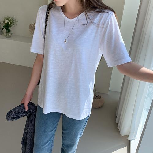 dodry-TV17565 심플 브이넥 슬라브 티셔츠♡韓國女裝上衣