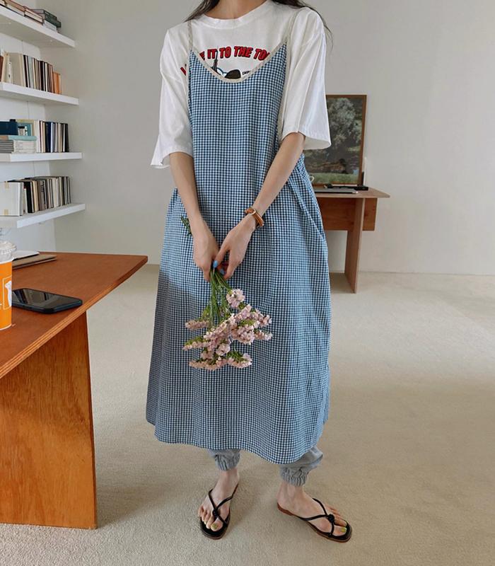 sibuya-[블루 고방 끈원피스]♡韓國女裝連身裙