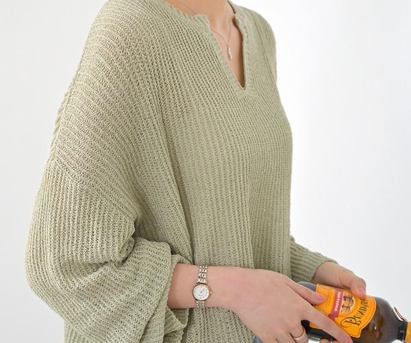DailyN-(무배)케닌 루즈핏 브이 트임 5부 니트♡韓國女裝上衣