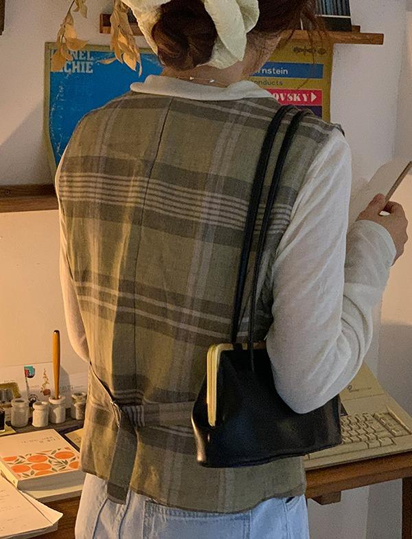 browncode-check vest♡韓國女裝外套