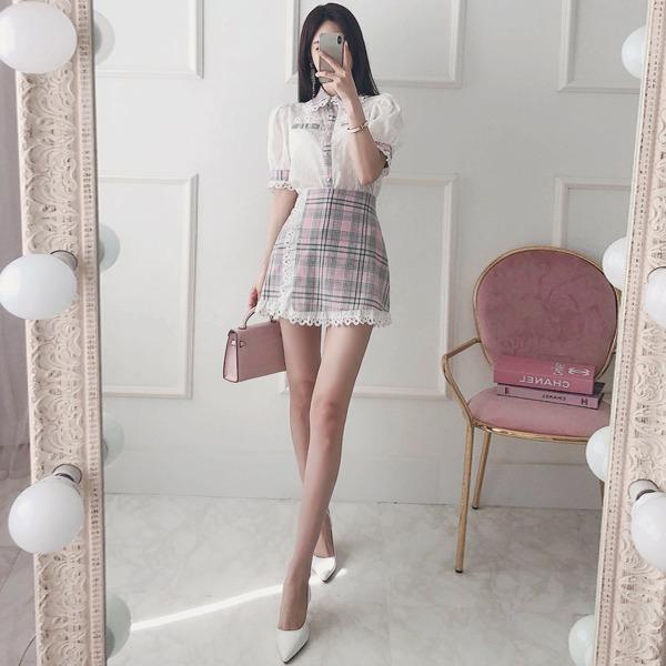 babinpumkin-라임바질 체크 치마바지♡韓國女裝裙