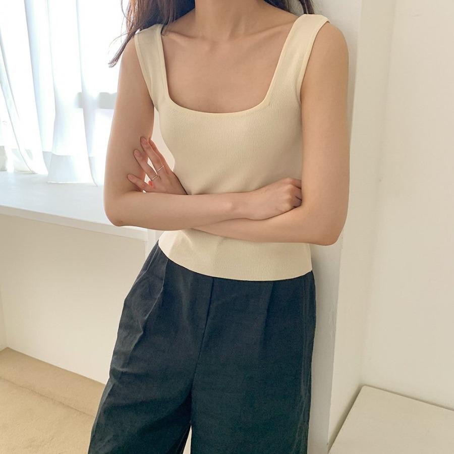 jjrella-베리 스퀘어넥 민소매 니트 나시♡韓國女裝上衣