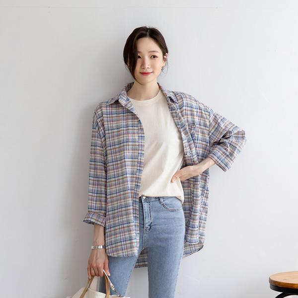 misscandy-[no.20309 링클 컬러 체크패턴 셔츠]♡韓國女裝上衣