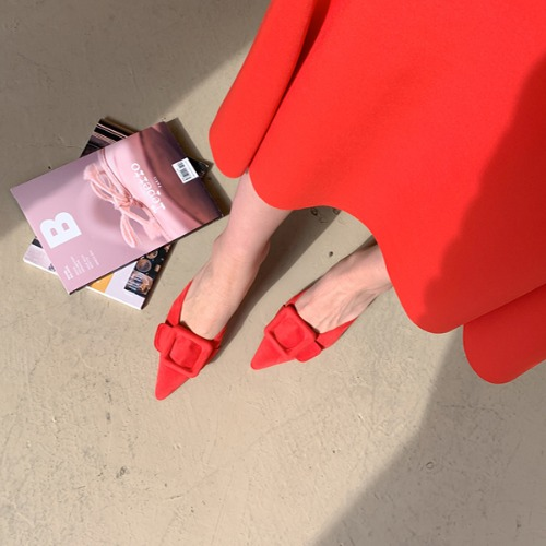 dodry-U16355 스웨이드 스퀘어 뮬♡韓國女裝鞋