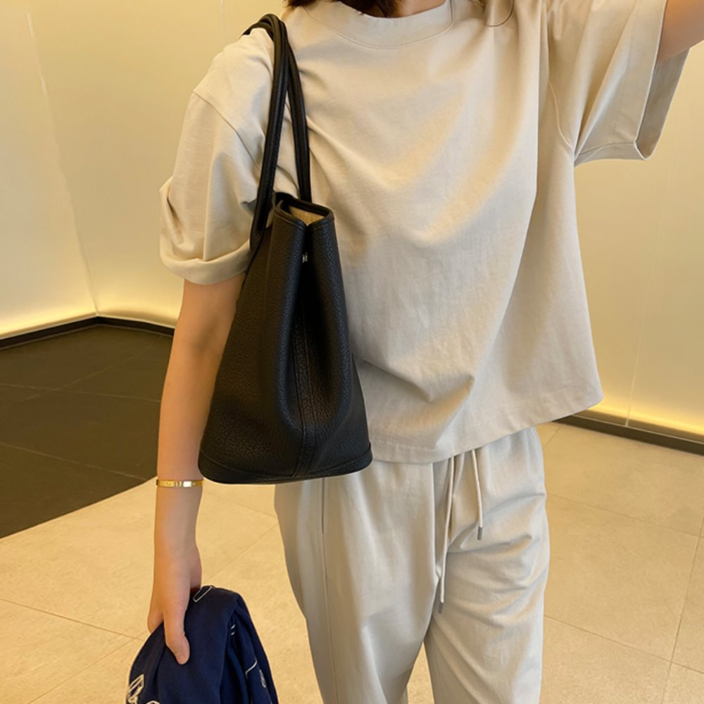 littleblack-시즈닝 반팔 티셔츠, 트레이닝 팬츠(상, 하의 개별판매)♡韓國女裝套裝
