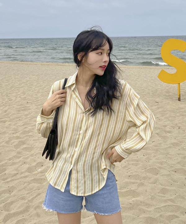 loveloveme-라잇 스트라이프셔츠 | 럽미♡韓國女裝上衣