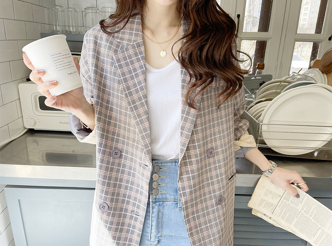 naning9-메바츠 체크자켓(C04)♡韓國女裝外套
