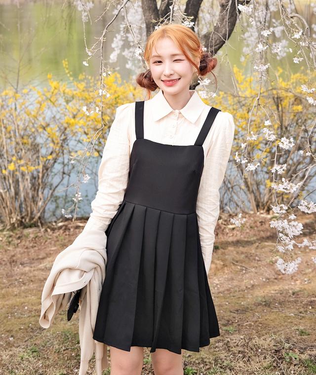 kikiko-셔츠부착플리츠OPS♡韓國女裝連身裙