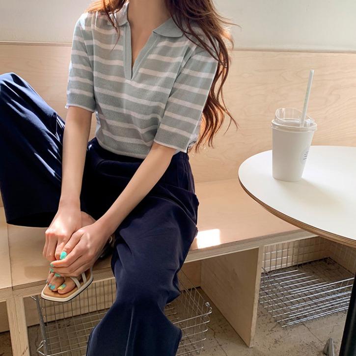 QNIGIRLS-시스몬 단가라반팔카라니트♡韓國女裝上衣