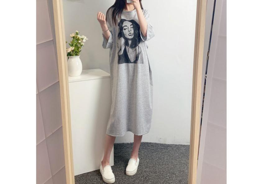 be-witch-(77까지 가능!!) 화보 프린팅 박시 루즈핏 롱원피스♡韓國女裝連身裙