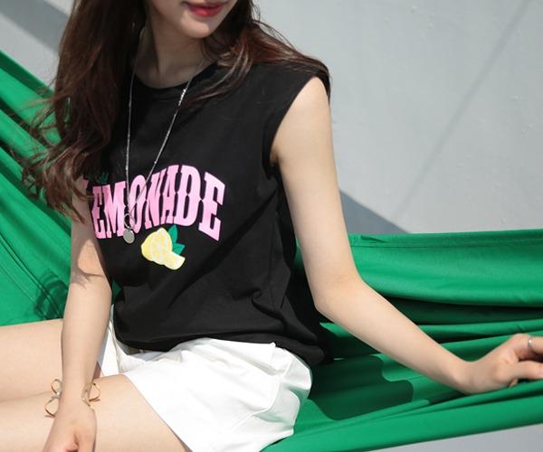 DailyN-(무배)에이드 레터링 민소매 티셔츠♡韓國女裝上衣