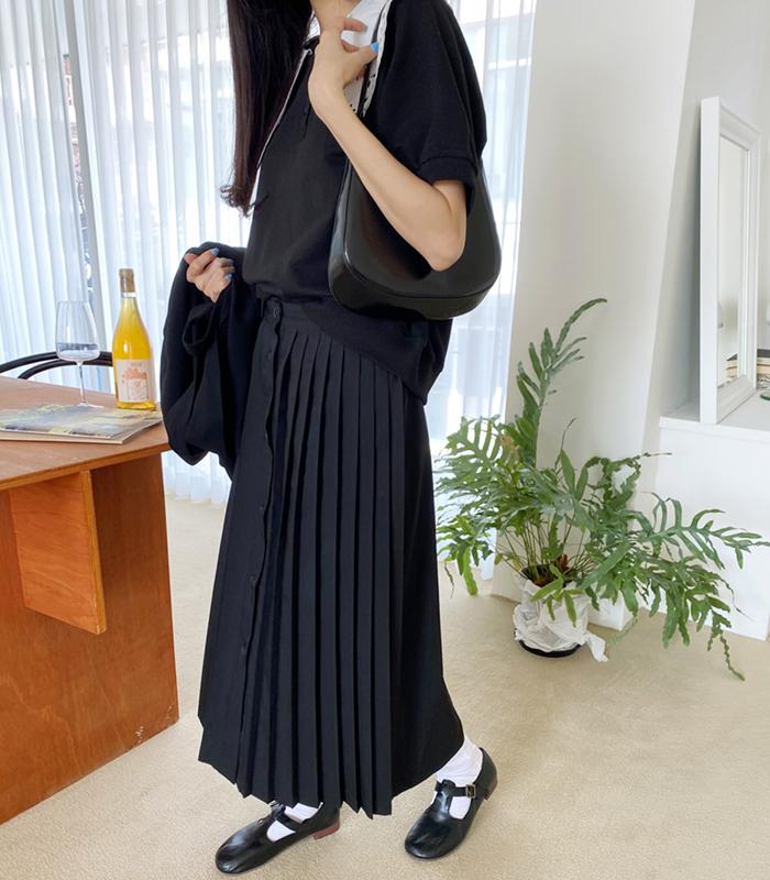 sibuya-[언발 플리츠 버튼 SK]♡韓國女裝裙