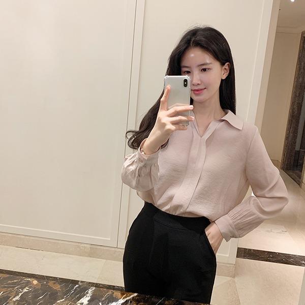 benito-렌시아 브이 카라 블라우스 신상/브이넥/카라/카라블라우스/베스트/여성/데일리♡韓國女裝上衣
