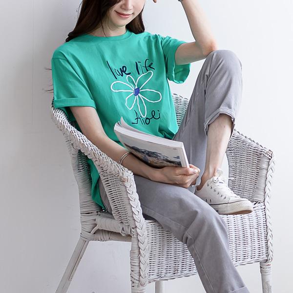 misscandy-[no.20309 라운드넥 플라워프린팅 반팔 티셔츠]♡韓國女裝上衣