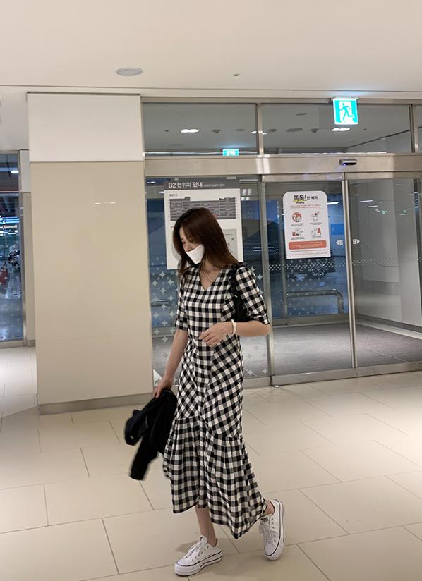 againby-[달리체크 ops]♡韓國女裝連身裙