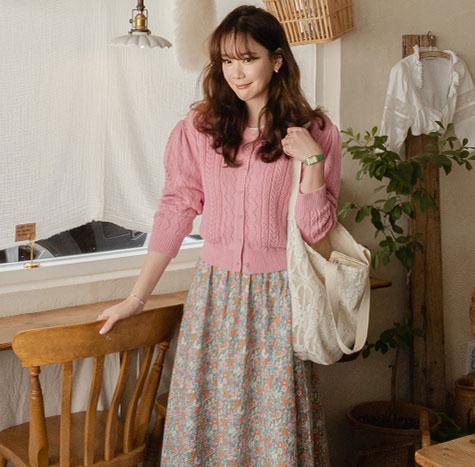 leelin-[플로라 퍼프소매 펀칭 가디건[size:F(55~66)]]♡韓國女裝外套