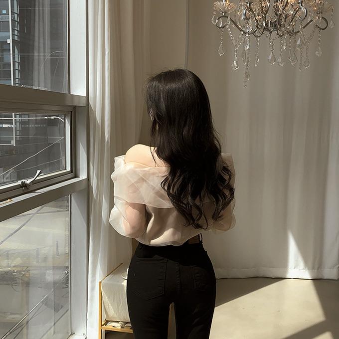 henique-공주같지 퍼프 소매 프릴 오프숄더 블라우스 (베이지/핑크/블랙)♡韓國女裝上衣