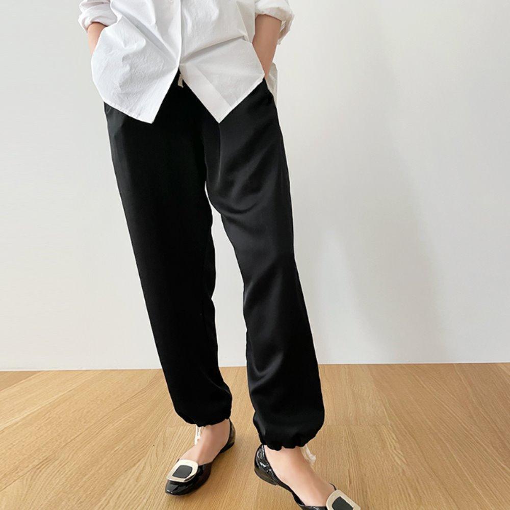littleblack-샤틴 스트링 배기 팬츠♡韓國女裝褲