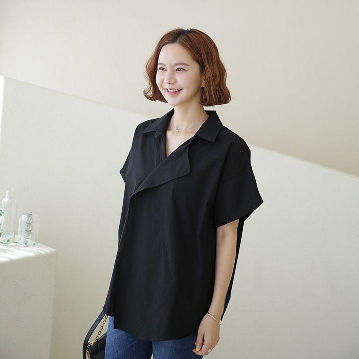 lemite-세련된 카라셔츠(체형커버완벽!44~77사이즈)♡韓國女裝上衣