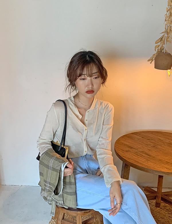 browncode-collar open knit♡韓國女裝上衣