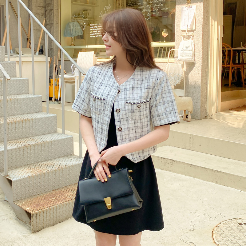attrangs-jk1567 제이렌 트위드 포켓 반팔 크롭자켓♡韓國女裝外套
