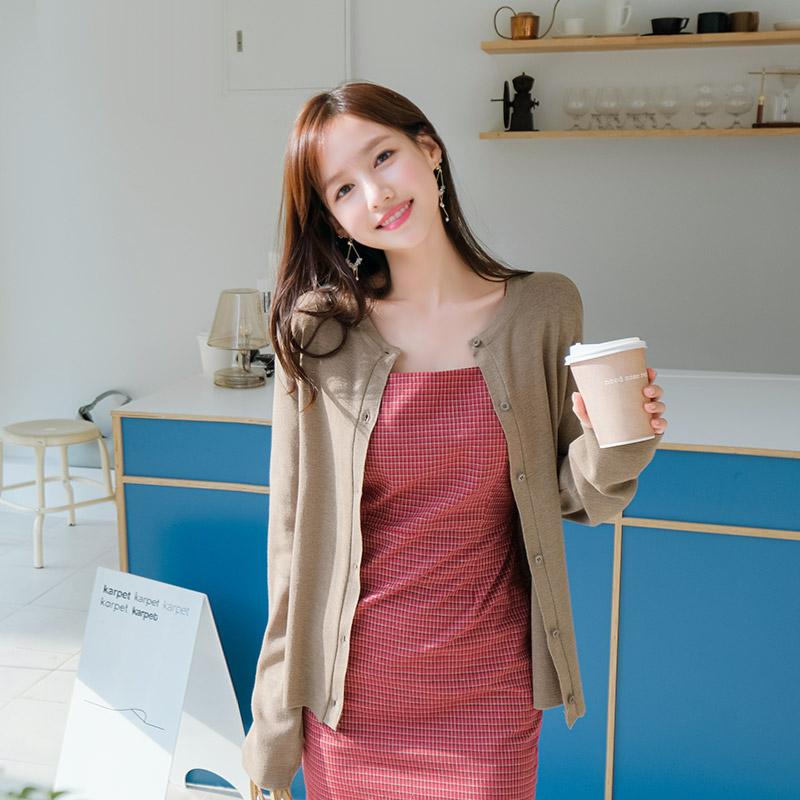 attrangs-cd1153 다채로운 7가지 컬러구성의 데일리 베이직핏 라운드넥 니트가디건 cardigan♡韓國女裝外套