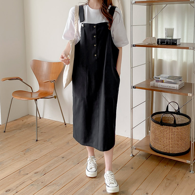 attrangs-op11471 빌리브 캐쥬얼 오버롤 코튼 미디 원피스♡韓國女裝裙