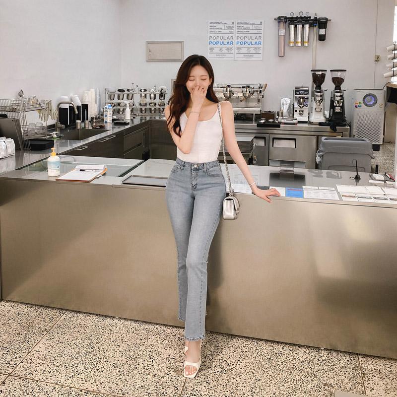 attrangs-ps2793 청량한 블루 컬러감의 반하이웨스트 디자인 세미 부츠컷 롱 데님 팬츠 pants♡韓國女裝褲