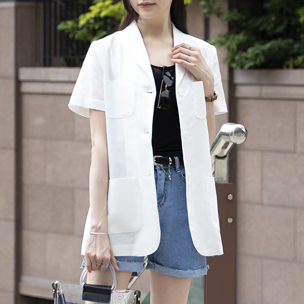 misscandy-[no.17435 아웃포켓 하프소매 린넨자켓]♡韓國女裝外套