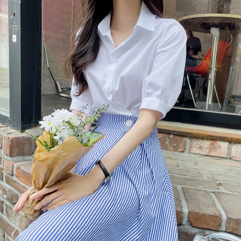 attrangs-op11495 슈코 카라넥 스트라이프 플레어 롱원피스♡韓國女裝連身裙