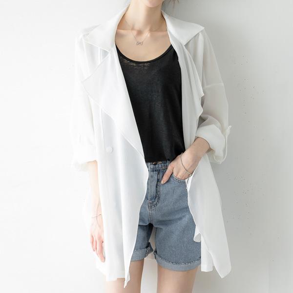 misscandy-[no.17297 롤업소매 드레이프 쉬폰자켓]♡韓國女裝外套