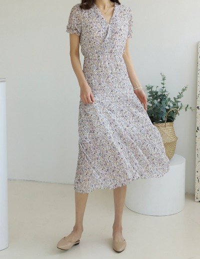 indibrand-플라워 쉬폰 원피스 (수입)♡韓國女裝連身裙