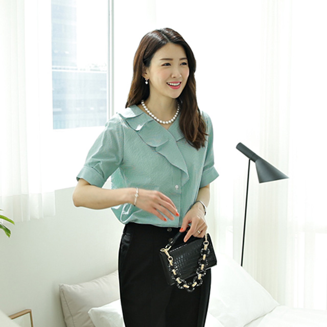 tiramisu-0433고방체크훌프릴블라우스♡韓國女裝上衣
