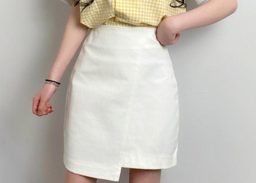 be-witch-사선 언밸런스 H라인 미니스커트♡韓國女裝裙