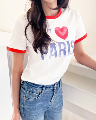 cocostory-[바로배송-패리스 하트티~!! 주인장이  핏에 반해서 컬러별로 소장한~!!]♡韓國女裝上衣