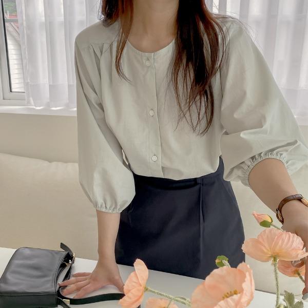 realcoco-[REALPRICE 20%]REALMADE 플랫 라운드 7부 블라우스(24,000→19,200won)(데일리/데이트룩)♡韓國女裝上衣